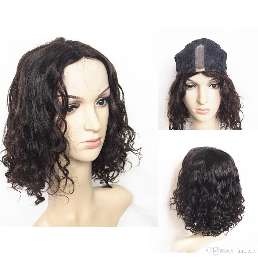 120% Density Kinky Curly Human Hair Wig Wholesale Price Cheap Hand Tied U-Part Lace Front 14inch Deep Curly Lace Wigs