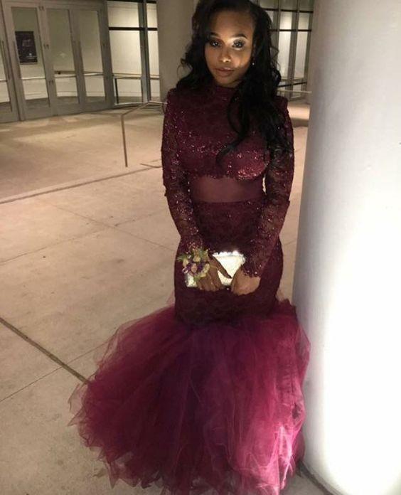 Benutzerdefinierte 2018 Afrikanische Vintage Prom Party Kleider Kleider 2K18 Mermaid Long Sleeves Illusion Formale Abendkleider Roter Teppich Celebrity Pagenat