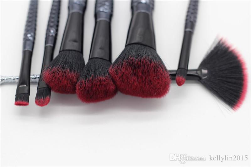 Black Mermaid Makeup Brushes Set Foundation Blush Lip Eye Shadow Fan Brush Cosmetic Beauty Make Up Brushes Tools