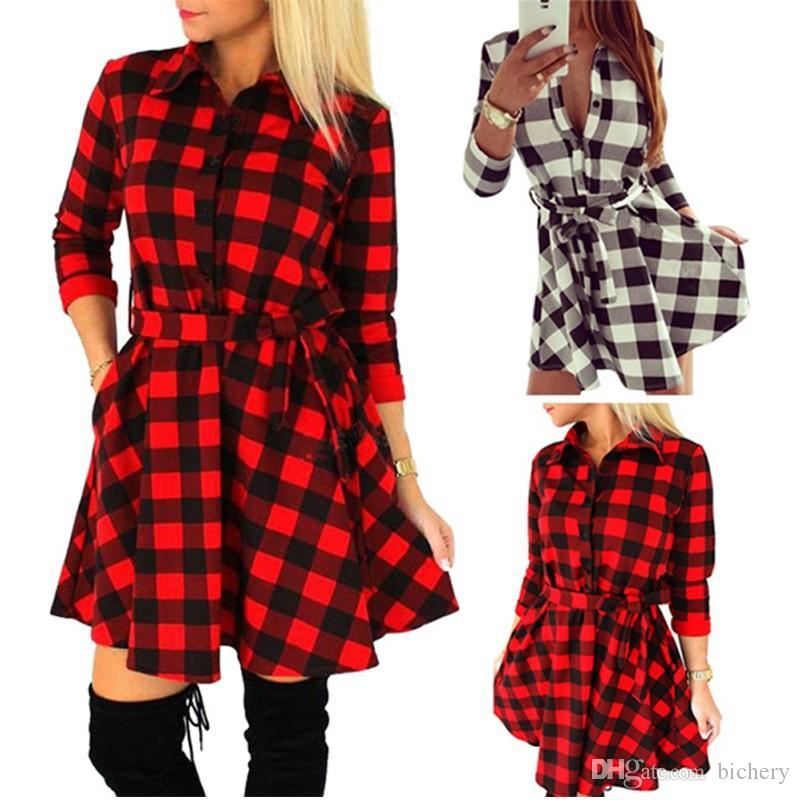 02dd0b620b9 New Fashion Women Plaid Flannel Short Mini Dress 3 4 Sleeve Shirt Dress  Belted Dress H34 Cocktail Dresses For Party Dresses For Women Long From  Bichery