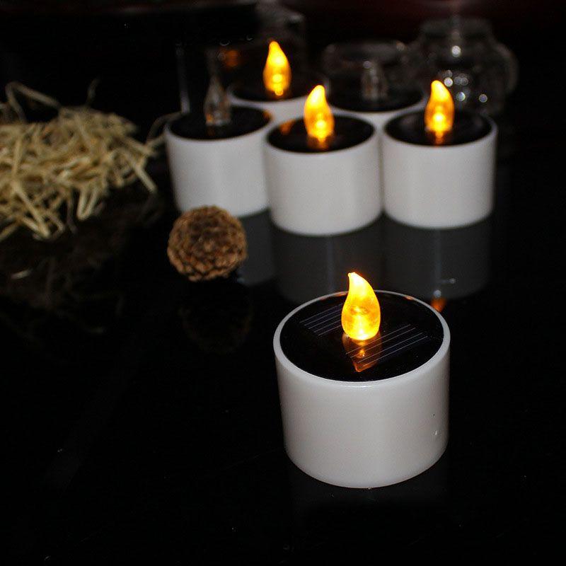 Giallo Flicker Solar Power LED Light Candles Flameless Nightlight Matrimonio Natale Decorazione festa Spedizione gratuita ZA5265