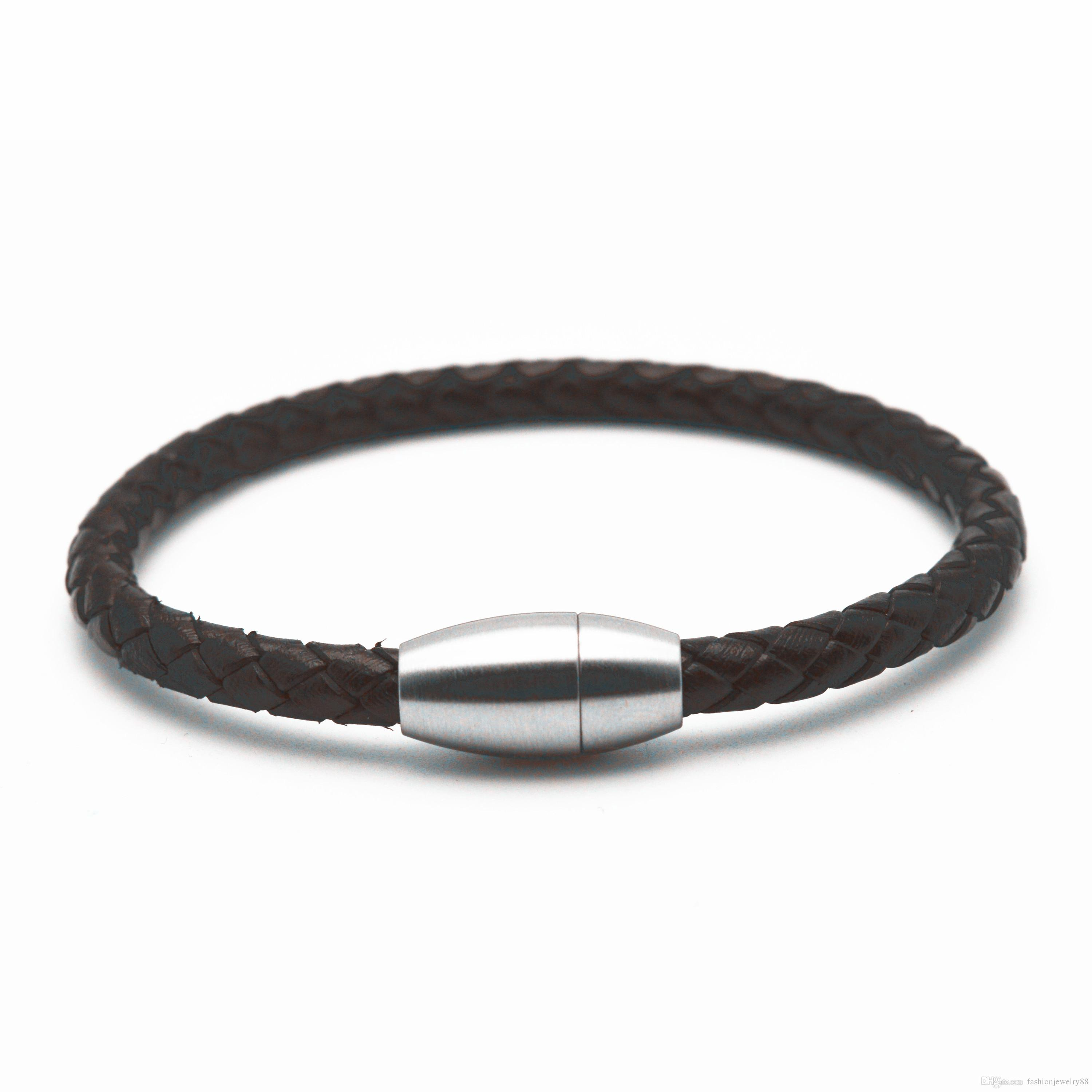 2018 Genuine Leather Bracelets Stainless Steel Fish Hook Clasp