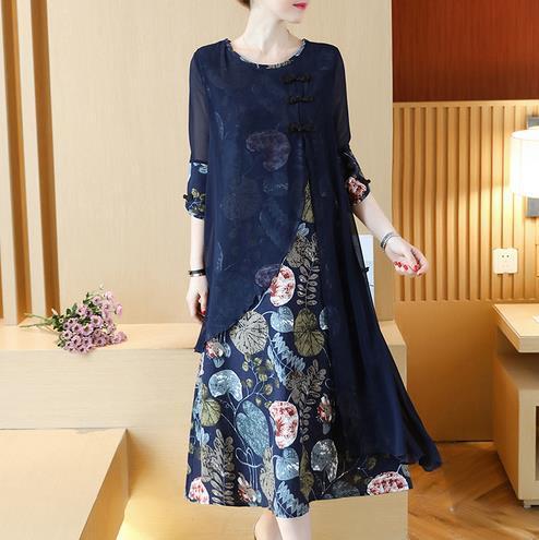 Clobee Vintage Print Flower Women Dress Slim Elegante Estilo de Trabajo de Oficina Vestidos de Damas Étnico Chino Otoño Vestidos Largos V273