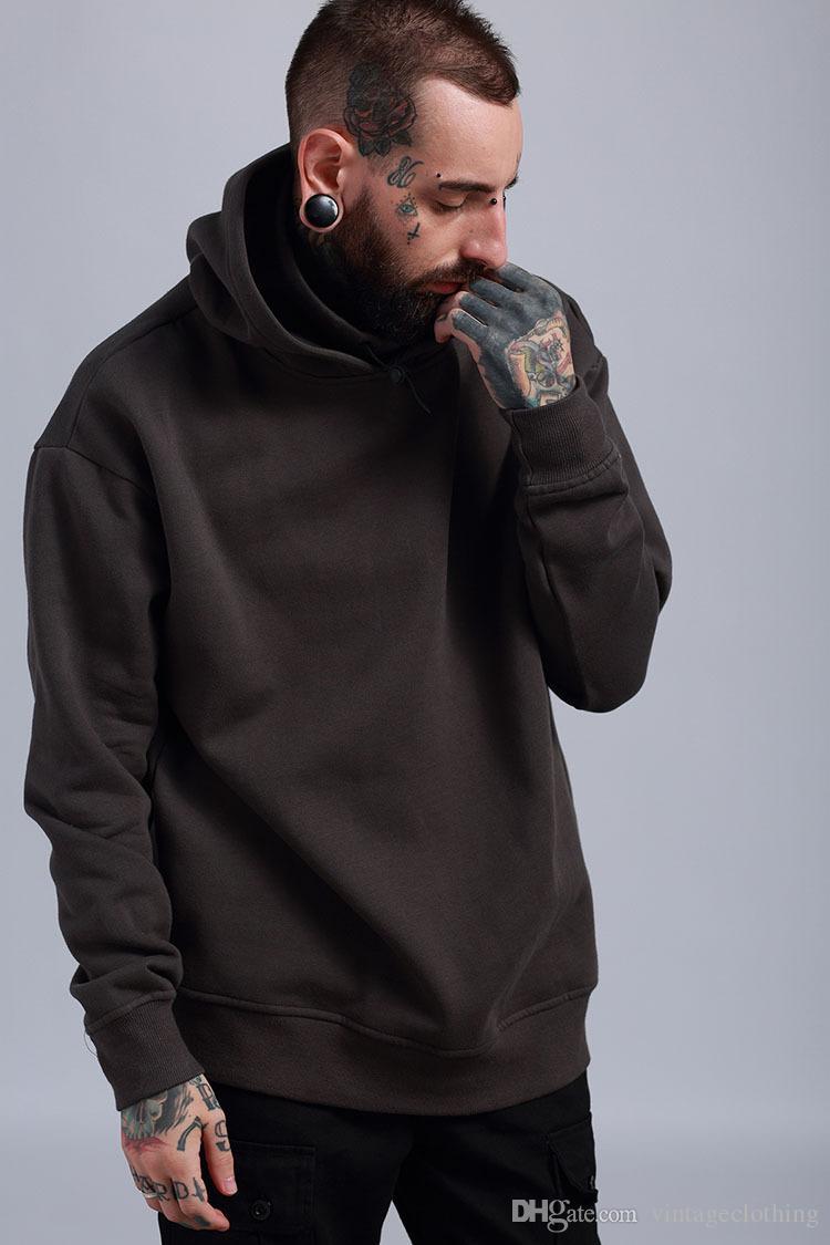 Kanye Sudadera con capucha de gran tamaño de invierno Hip Hop Hombres Sólido Casual Loose Turtleneck Sudadera con capucha Cálido Fleece Preppy Look Lover Pullover