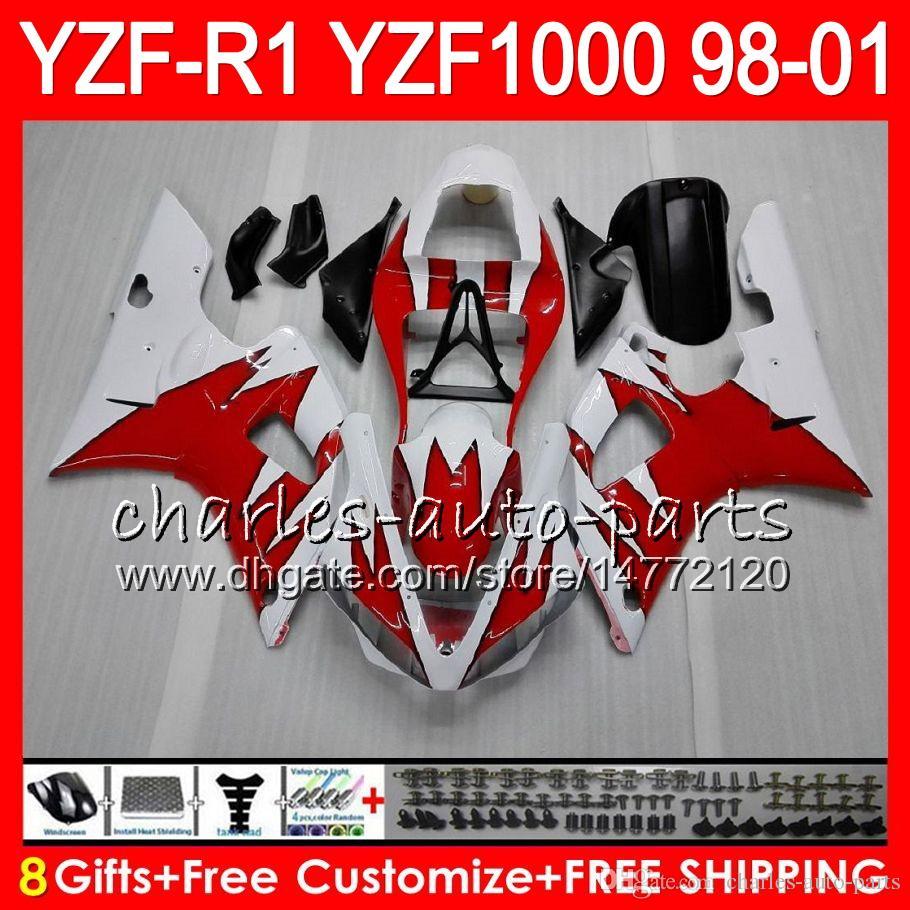 8Gift Body YAMAHA YZF1000 YZFR1 98 99 00 01 YZF-R1000 TOP bianco rosso 61HM4 YZF 1000 R 1 YZF-R1 YZF R1 1998 1999 2000 2001 Carena