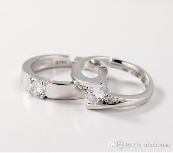 New High Qulity 925 Sterling Silver White gold Plated 1CT Swiss Diamond Rings For women