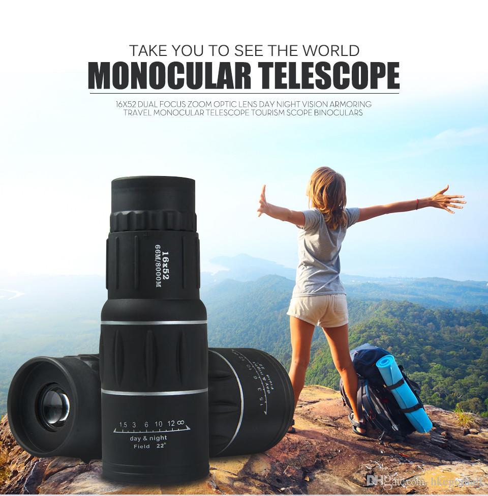 Monóculos ao ar livre Visão Noturna Telescópios 16x52 Dupla Foco Zoom Lente Óptica Armoring Monocular Telescópio Binóculos de Turismo Telescópio de Viagem