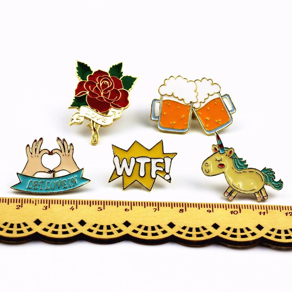 Timlee X223 Simpatici Animali Unicorno Smalto Pin Amore Mano Birra WTF Rosa Spilla Pins Spille Button Fashion Jewelry all'ingrosso