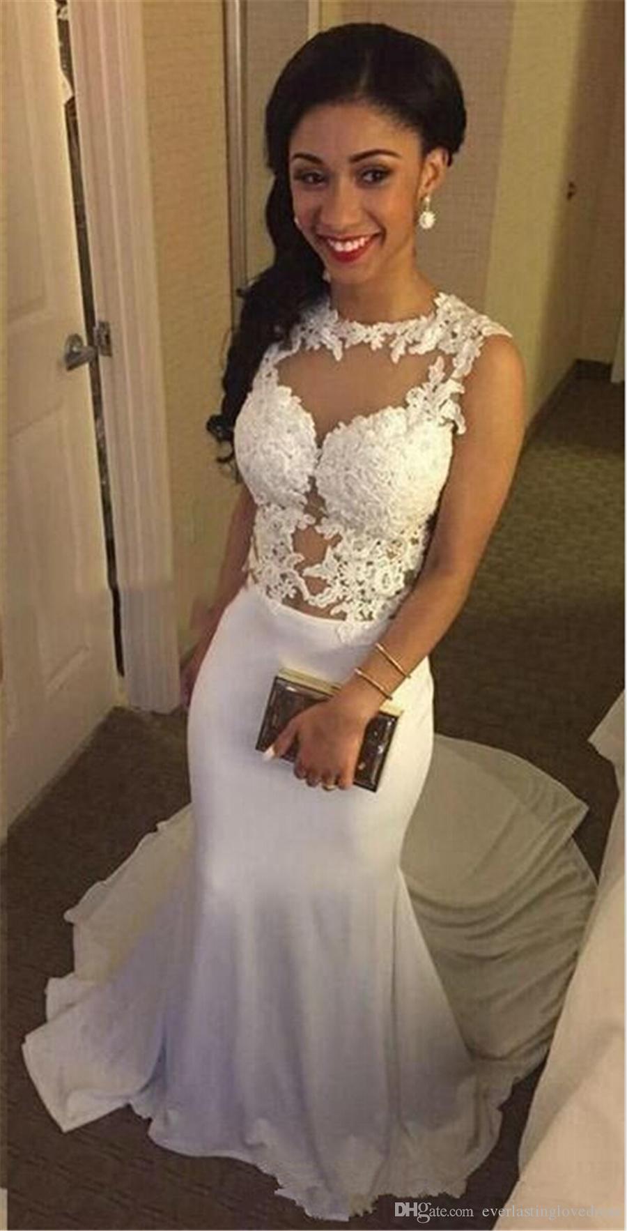 Abito Da Sposa Sexy Durchsichtig Illusion Abendkleid Applizierte Lace Mermaid Sheer Abendkleid Online Shop China