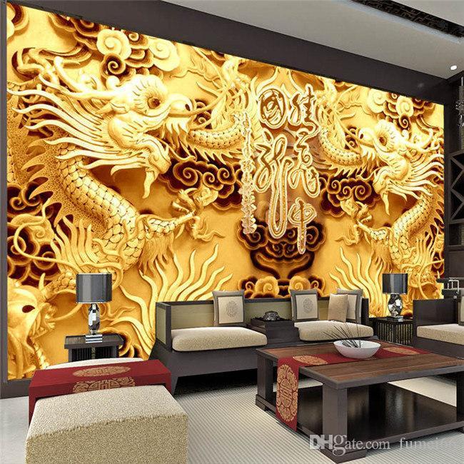 D golden dragons photo wallpaper woodcut wall mural