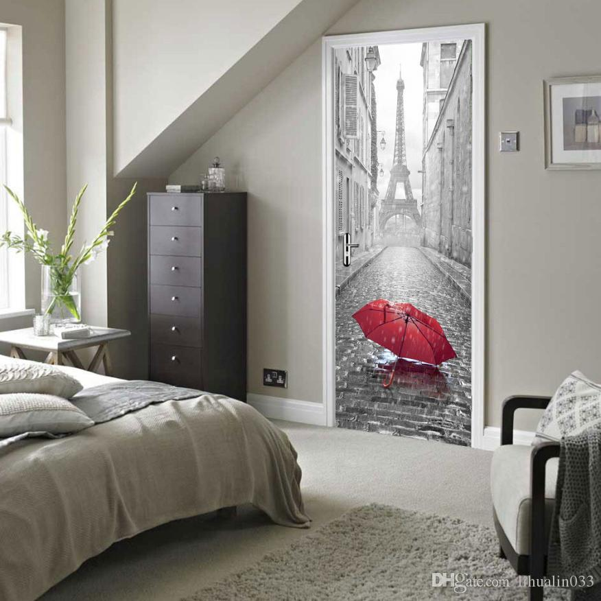 3D Etiqueta Puerta de bricolaje Mural imitación de la torre Eiffel autoadhesivasFabricamos a prueba de agua pegatinas puerta del dormitorio principal Decoración Papel de pared de PVC