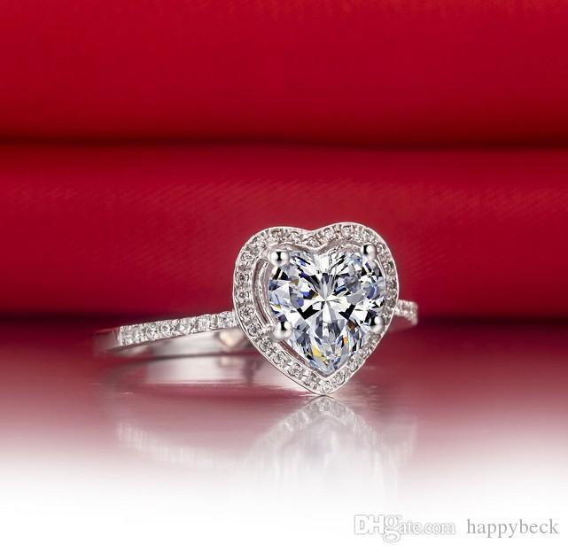 Anello di fidanzamento con diamante sintetico a forma di cuore da 2 carati le donne Anello in argento sterling massiccio 925 gioielli brillanti sempre