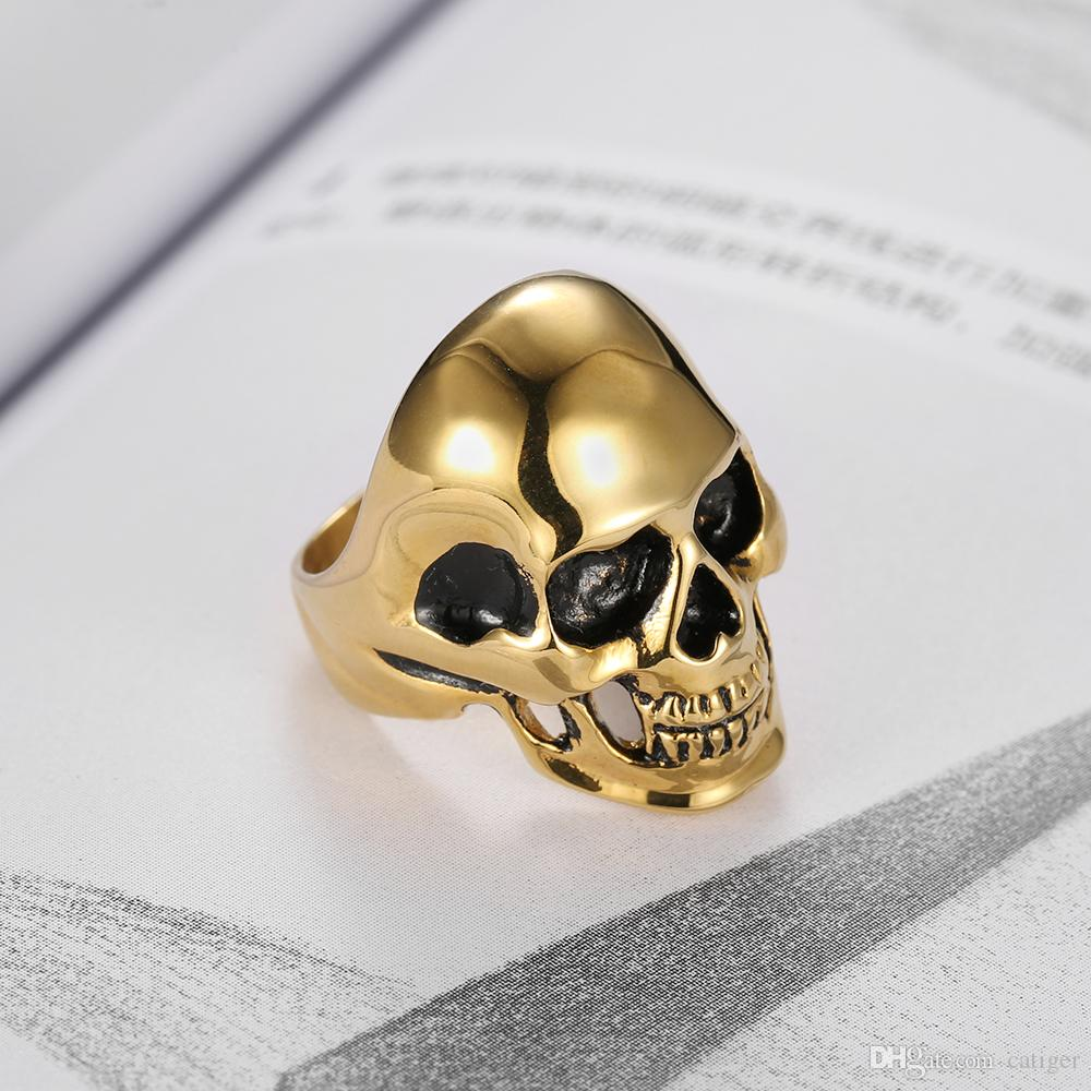 ! Punk 316L Stainless Steel Gold Plated High Polish Oil Push Skull Skeleton Ring Jewelry