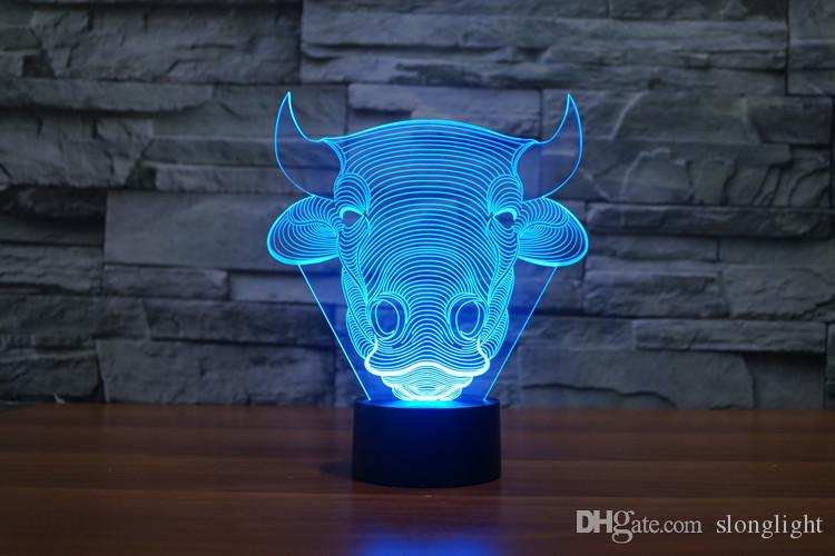 Freies Verschiffen Farbwechsel Blinkende Touch Sensor Control Bull Acryl 3D Toro LED Kinder Schlafzimmer Nachtlicht LED OX Kopf USB Tischlampe