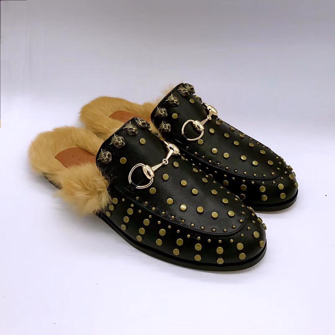 lo último ebc5f 32473 Mocasines de piel de peto femenino perezoso de Princetown holgazán remaches  pelo de invierno más zapatillas de terciopelo cálido