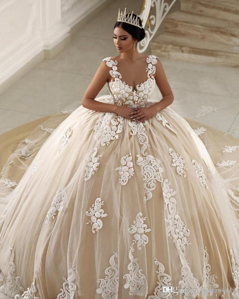 2017 Champagne Saudi Arabia Ball Gown Wedding Dresses Spaghetti Straps  White Lace Appliques Beaded Plus Size Court Train Formal Bridal Gowns Plus  Size ...