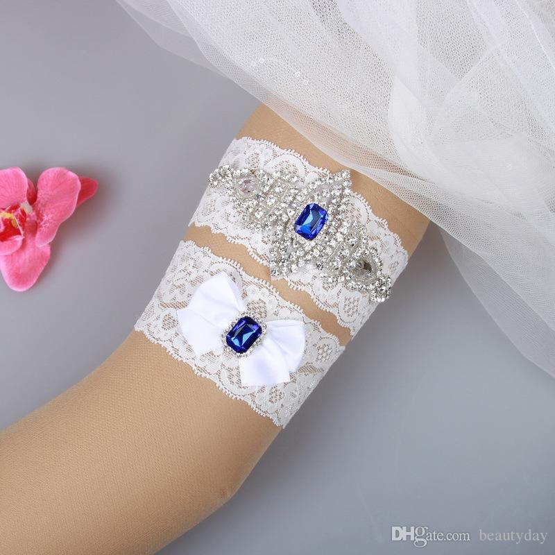 Plus Size Wedding Garters Sets: Bridal Garters Blue Crystal Beads Bow Set White Lace For