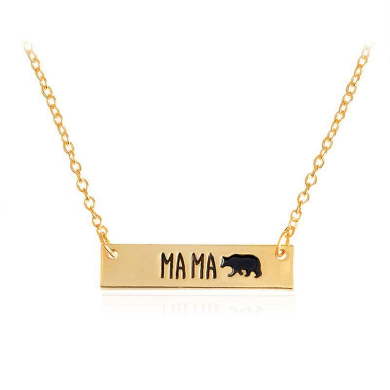 Neues nettes Tier der Art und Weise trägt die Halskettenschmucksachen, die Mutter Bear Handmade Stab Halskettenmutterliebe beschriften, freies Verschiffen