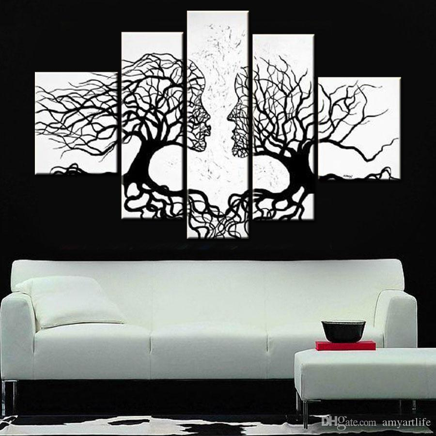 2018 Hand Painted Black White Canvas Wall Art Modern Designed Oil