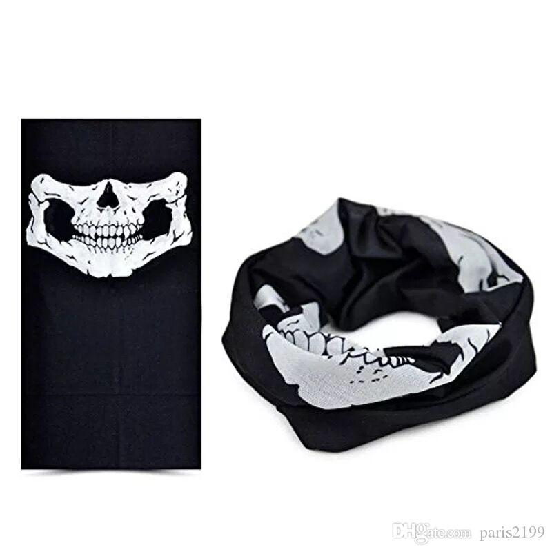 Sıcak satış fonksiyonlu Dikişsiz Sihirli Eşarp Variety Sıcak Cadılar Bayramı Cosplay Bisiklet Cs Kayak Şapkalar Kafatası Yarım Yüz Bandana Parti Maskesi Sca