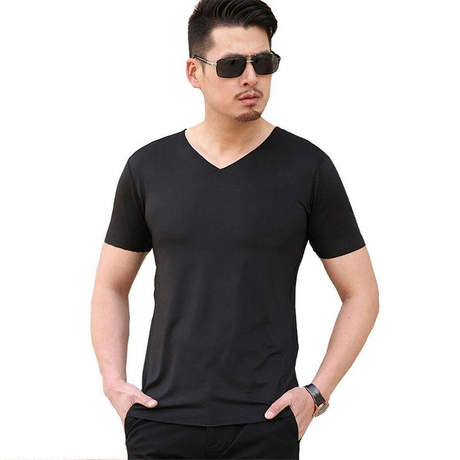 Summer Men'S T Shirt Sexy Tshirt Deep V Neck T Shirts Seamless No ...