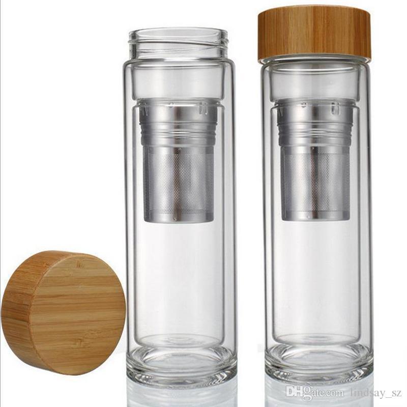 Tapa de bambú de 400 ml. Vaso de té de doble pared. Incluye colador y cesta infusora. Botellas de agua de envío rápido.