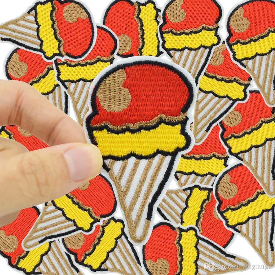 patchs de broderie de crème glacée de couleur pour le patch de fer vêtements pour les vêtements accessoires de couture autocollants sur appliques fer à repasser sur les patchs