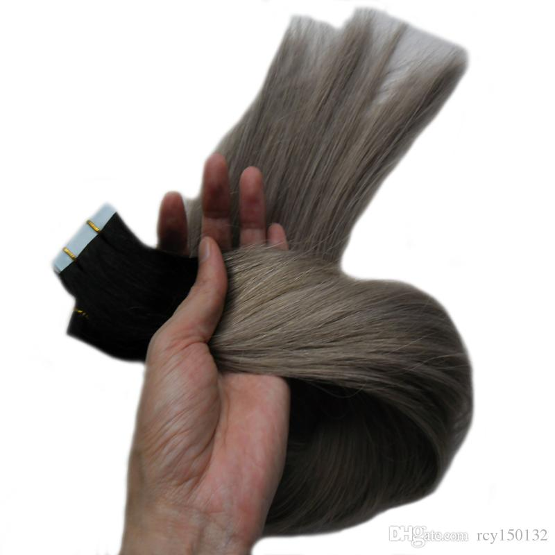 Silver ombre Tape in hair extensions human 100g T1B/grey two tone rey ombre human hair Skin Weft hair extension