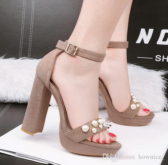 12 Pumps Shoes High Design S Vintage Heels Platform Open Summer Toe Pearl Sandals Cm Women nOmNw80v