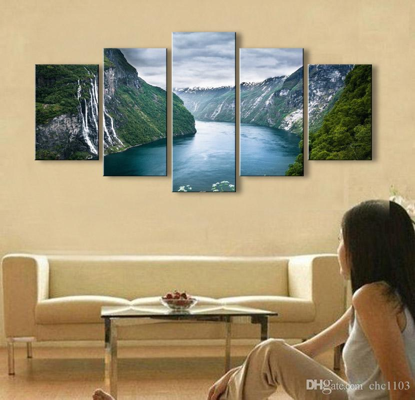 high-definition print clouds landscape canvas oil painting poster and wall art living room picture PL5-208