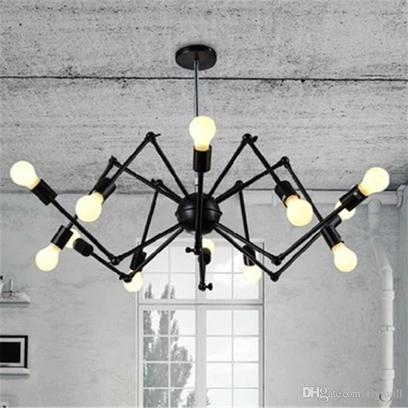 Adjustable spyder chandelier vintage edison light ceiling pendant light retro style lighting fixture 6 8 12 18 heads bedroom hanging lights ceiling lights