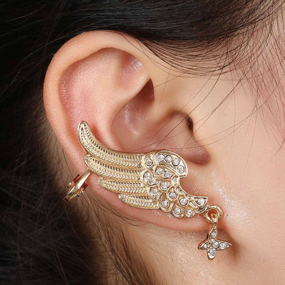 Regali del partito Donne ZLDYOU nuovo oro argento placcato Fashion Statement dell'orecchio dei monili di cristallo di polsino degli orecchini di clip completa strass Ala