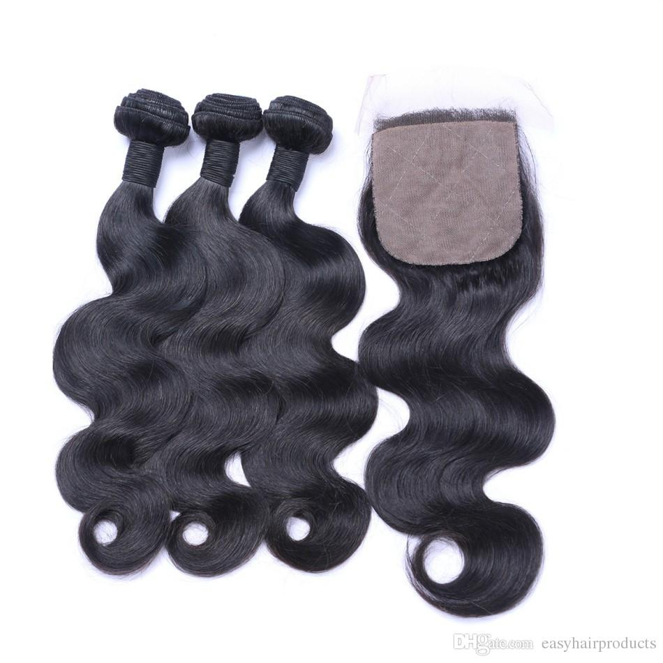 4*4inch Indian Body Wave Silk Base Closure With Hair Bundles Virgin Wavy Human Hair Weaves 8-30inch Shedding Free