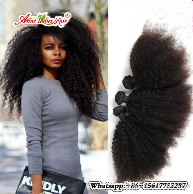 Mongolian Malaysian Afro Kinky Curly Weave Human Hair Extensions Non