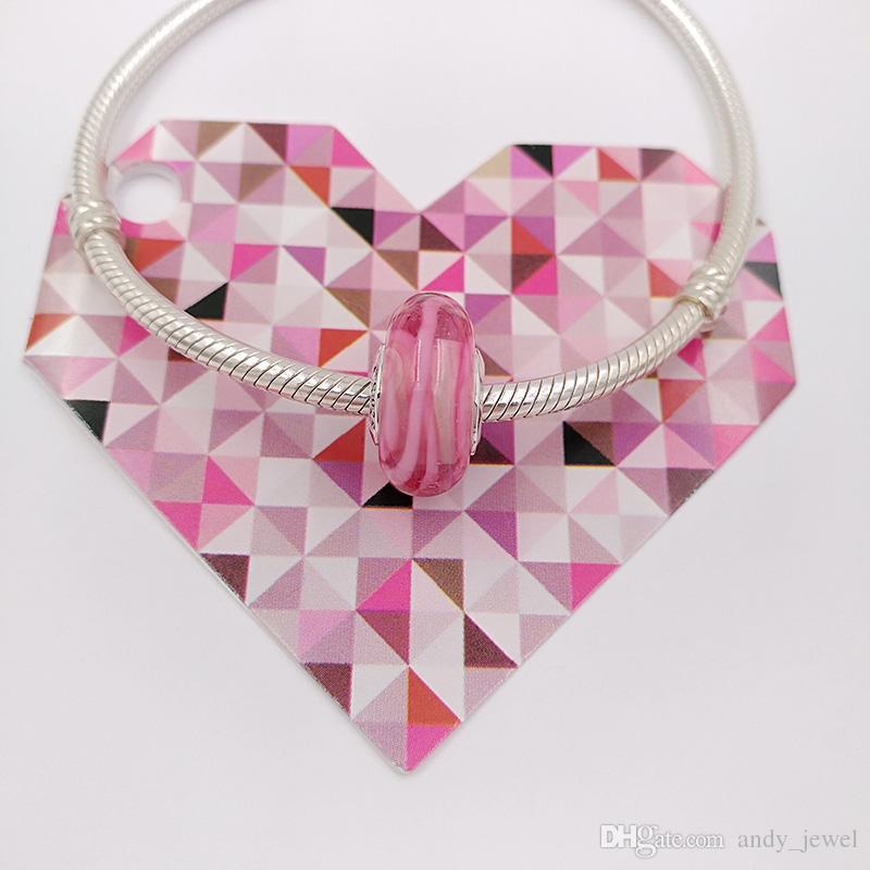 Authentische 925 Sterling Silber Perlen Rosa Band der Hoffnung Murano Glas Charme passt europäischen Pandora Style Schmuck Armbänder Halskette 791604