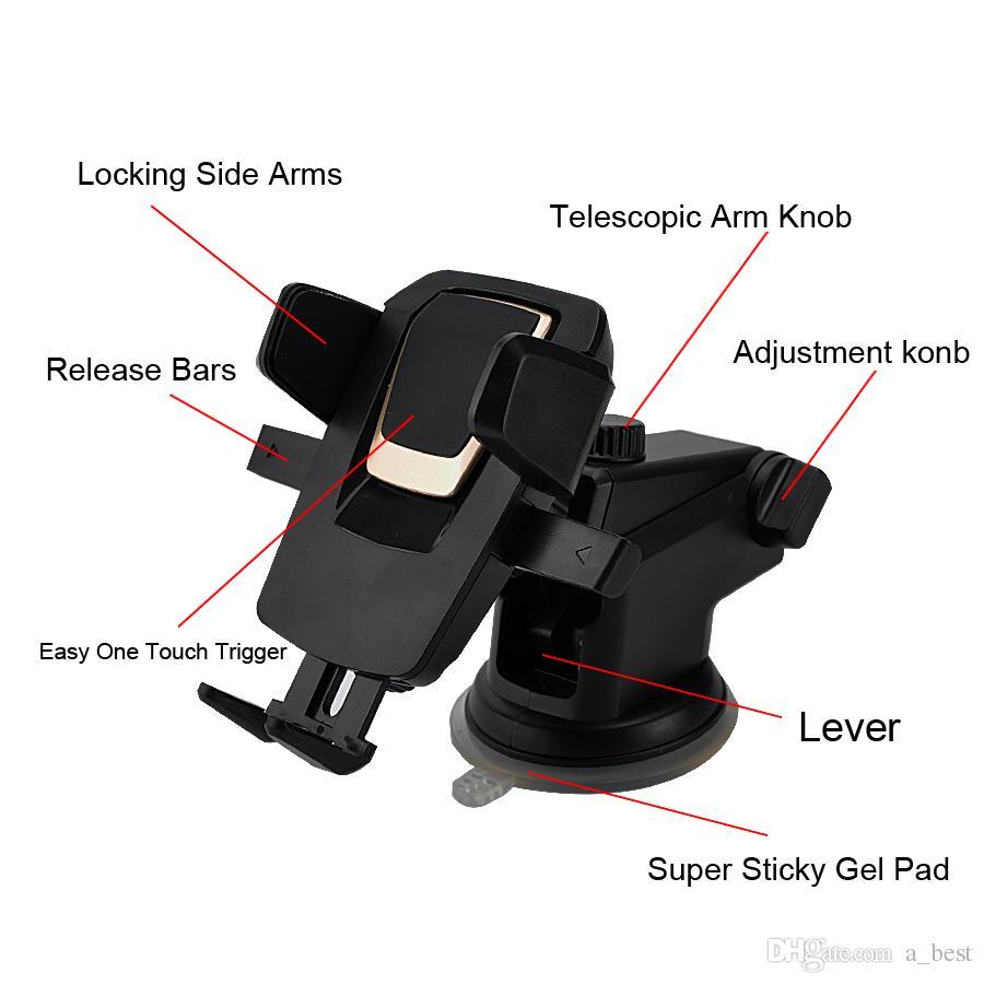 Evrensel 360 Derece Kolay Tek Dokunuşla Araba Montaj iphone X MAX Handfree Akıllı Cep Telefonu Tutucu Vantuz Cradle Paketi ile Tutucular Standı
