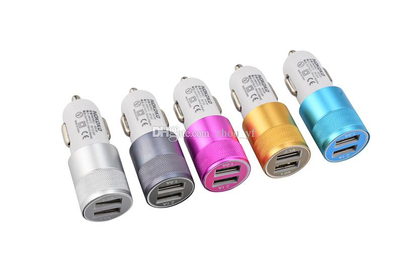 BRAND NOKOKO Best Metal Dual USB Port Car Charger Universal 12 Volt / 1 ~ 2 Amp for Apple iPhone iPad iPod / Samsung Galaxy Droid Nokia Htc