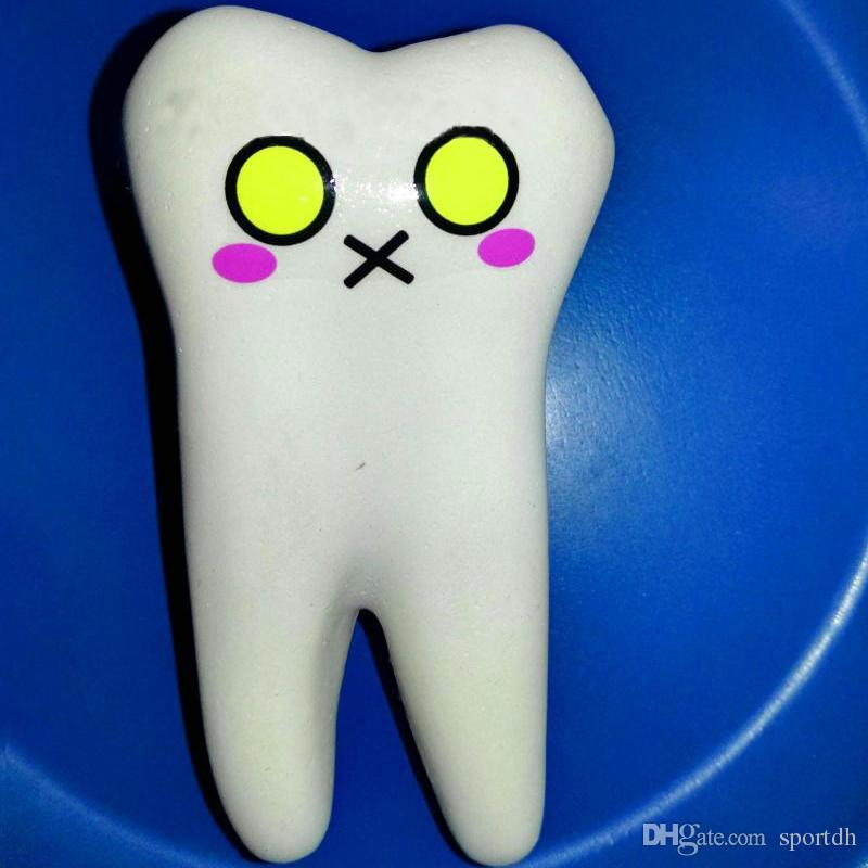Funny Tooth Shape Decompression Toy PU Squeeze Slow Rebound Pendant Toys Kid Toy E00696