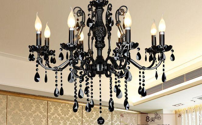 Black chandelier crystal chandelier light Crystal living room bedroom American restaurant vintage iron chandelier lighting