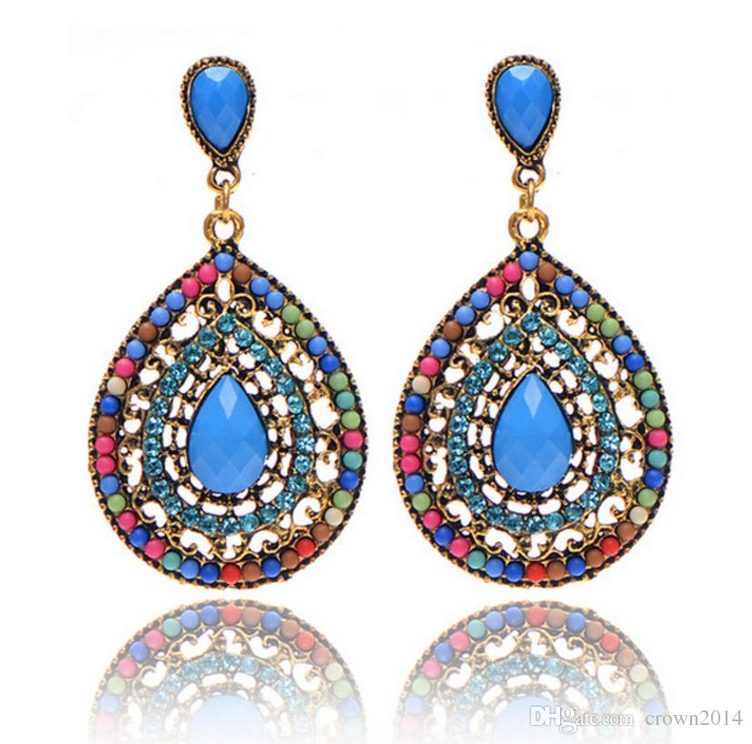 2017 Fashion Bohemain Jewelry Swarovski Crystals Chandelier Earrings For Women Cheap Free Shipping Blue Black Green Brown Beige Colored