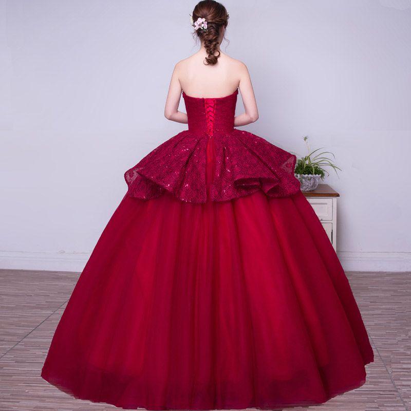 Abiti da ballo rosso con abiti da ballo il vino rosso 2017 Abiti da sera da autunno inverno Abiti da cerimonia con applicazioni di pizzo Quinceanera