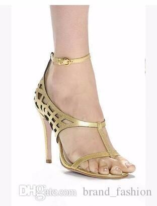 Seksi Kadınlar Altın Yaz Gladyatör Sandalet kesip Yüksek Topuklu T Gösterisi Lady Pompaları Artı Boyutu 35-42 Bayan Çizmeler Ayakkabı Toptan