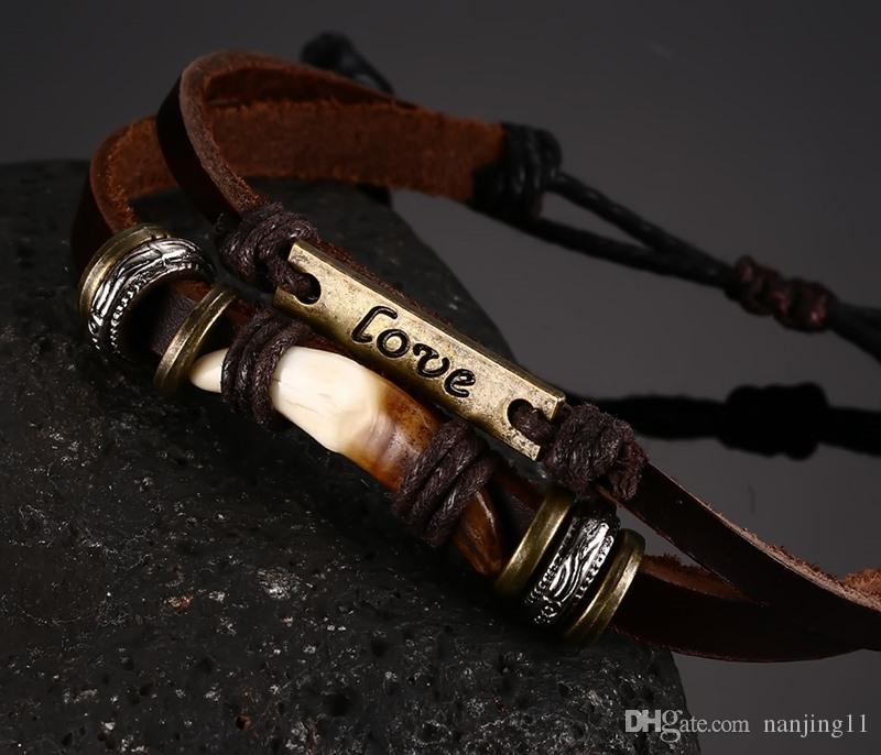 Europäische und Außenhandel Leder Handkette Hand Perlen geflochtene Armband Qualität Metall Liebe Leder Armband BL-092