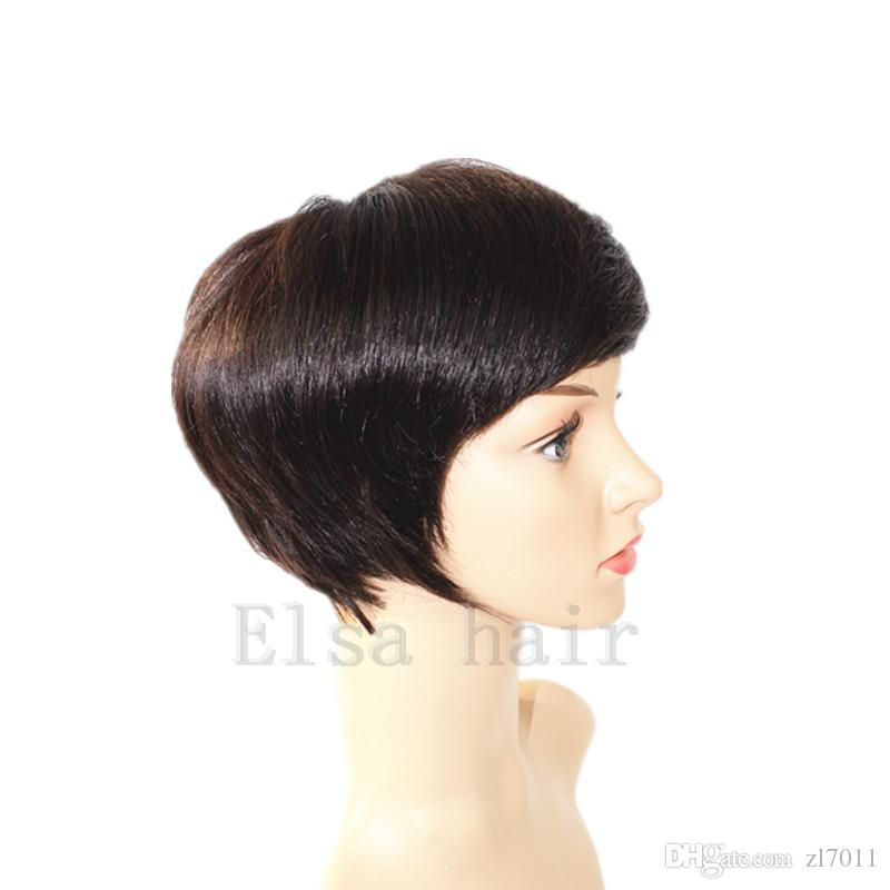 100% Human Hair Short Wigs Glueless Pixie Cut Bob Wigs for Women can be washed and curled Short Bob Lace Wigs
