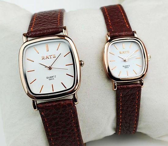высокое качество подлинный бренд золотой корпус водонепроницаемые экстра-плоский квадрат пара наручные часы для любовника