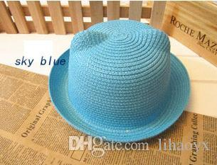2017 Marca Sombrero de Paja de Verano Decoración de Oreja Infantil Niño Hermoso Niños y Niños Sombrero de Sol Sólido Kid Floppy Panamá M022