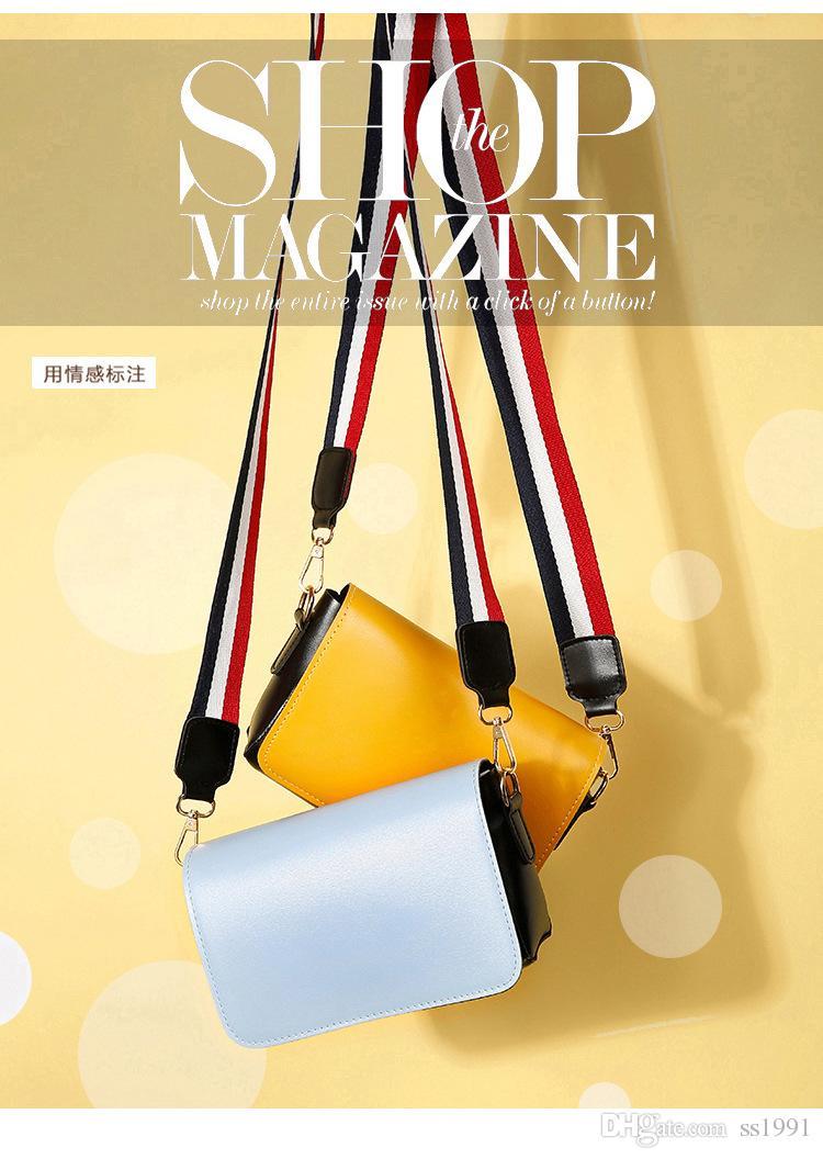2017 verano nuevo paquete de la marea puerto viento ancho correa para el hombro paquete de la bolsa de mensajero Harajuku bolsa de hombro de viento simple pequeño bolso cuadrado 170620