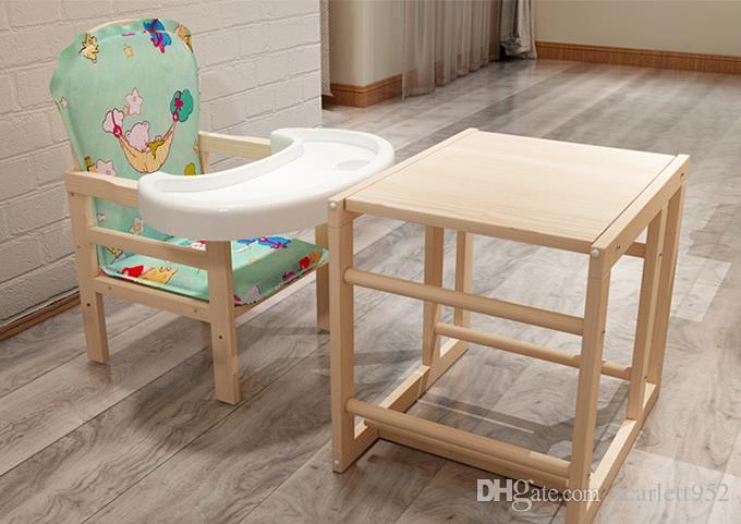 2018 Solid Wood High Chair Child Seat Multi Function Study Table Baby Chair  0 8 Years Old Environmental Pvc Plate From Scarlett952, $90.45   Dhgate.Com