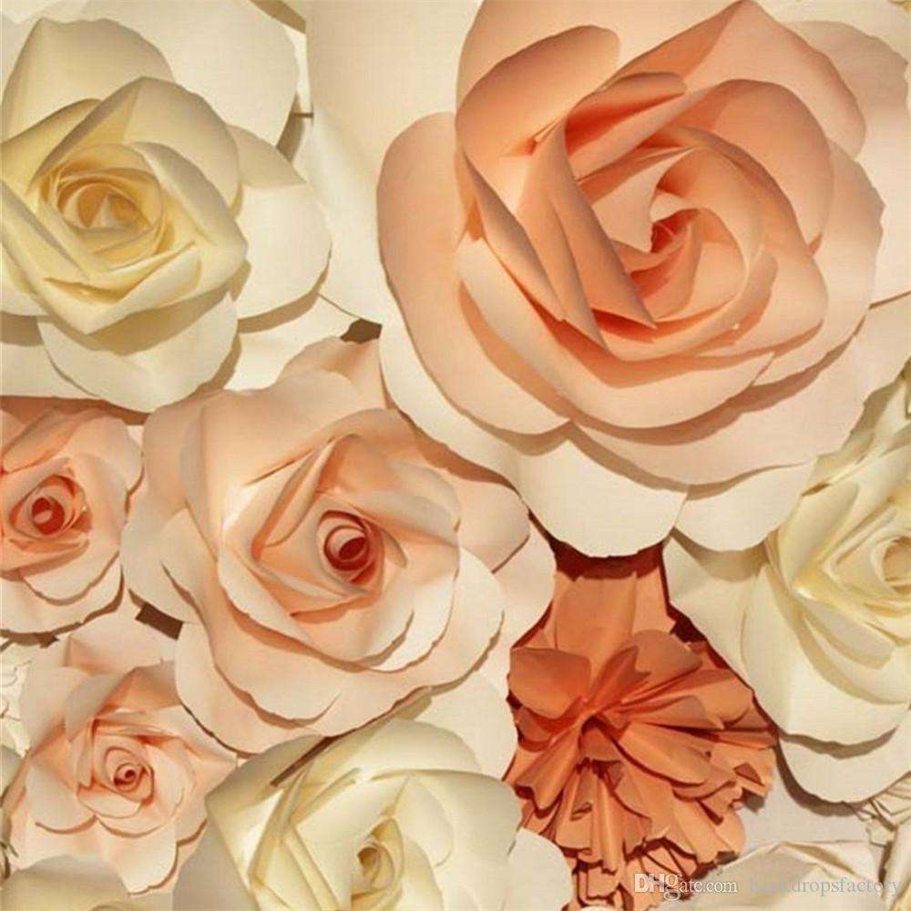 10x10ft Cream Coral Color 3d Flowers Wall Backdrop Wedding Romantic
