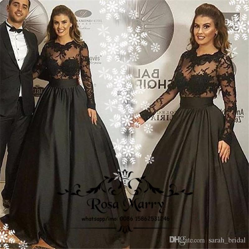 Vintage Lace Gothic Plus Size Evening Dress With Cloak A: Gothic Black Arabic Evening Dresses 2018 A Line Illusion